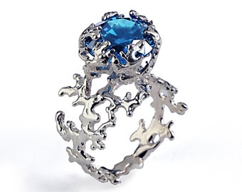 CORAL London Blue Topaz Engagement Ring, 14k Gold Gemstone Ring, Unique Gold Ring,  Blue Topaz Ring, Unique Engagement Ring