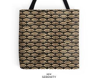 Waves Tote Bag, Black, Chic Tote, Printed Tote Bag, Work Tote Bag, Womens Tote Bag, Gift for Her, NewSerenityStudio