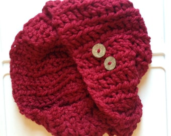 Hand Knit Chunky Red Circle Scarf with 2 Oversized Engraved Wooden Buttons