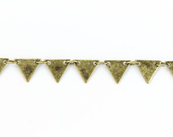 Antique Brass 7.25mm Triangle Drop Chain #CC105
