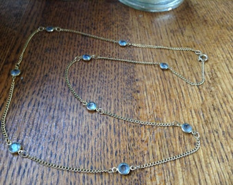 Costume Goldtone Necklace with blue gems