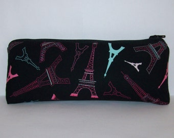 """Pipe Pouch, Eiffel Tower Pouch, Pipe Case, Pipe Bag, Girly Pouch, Paris Gift, Padded Pouch, Glass Chillum Cozy, Vape Pen Case - 7.5"""" LARGE"""