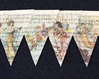 Vintage whimsical Fairies Music Sheet Banner