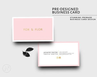 Business Card Design, Template, Blush Pink, Gold, Feminine, Photographer, Blogger, Hairdresser, Branding, Elegant, Minimalist, Simple