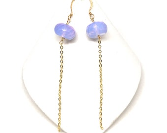 Opalite and Gold Chain Drop Earrings