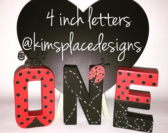 1st birthday, Ladybug birthday decorations, Paper Mache Letters, Hand Painted Letters, Ladybug first birthday, Ladybug Letter Set, ONE