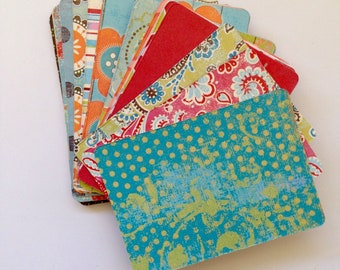 ATC / ACEO Blank Cards - Patterned Cardstock, Pocket Letters, Snail Mail, Stationary, Artist Trading Cards, MME, Handmade