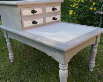 French Country Two Tone Tiered Nightstand | Shabby Chic | End Table | Side Table | Farmhouse | Painted Furniture | Rustic | French Provincia