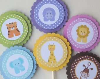 Baby Jungle or Zoo Animals Cupcake Toppers/ Set of 12/ Cute First 1st Birthday or Baby Shower Decorations