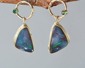 Australian Boulder Opal Earrings in Solid Gold and Silver- Boulder Opal Dangle Earrings, Natural Opals, Fine Jewelry, Gift for Her