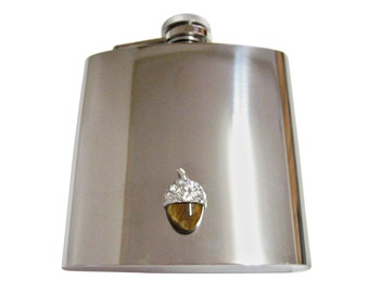 Shiny Acorn 6 oz. Stainless Steel Flask