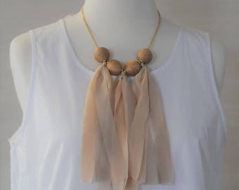 FREE SHIPPING, Stacked Corded ball Necklace, Bib Necklace, beige silk ribbon Necklace. Short Necklace, Gift for her, Dangle Necklace