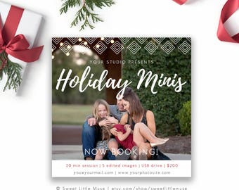 Holiday mini session template - christmas mini session template - photography marketing template - holiday minis - Christmas minis