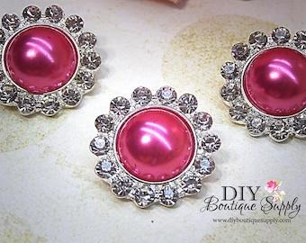 5 pcs 21mm Hot PINK  Rhinestone Pearl Buttons Metal Embellishment Headband Supplies Crystal flower centers Bridal supplies 429045