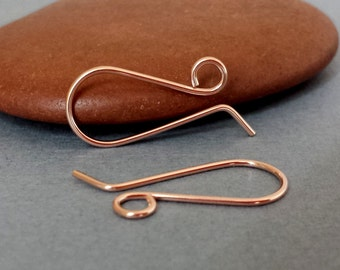 Handmade Ear Wires, 14k Rose Gold Filled Retro French, Artisan Earwire Findings