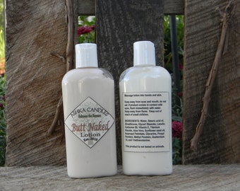 Butt Naked Hand Lotion! 4 oz aloe lotion, coconut scented lotion, Hemp Oil lotion, Dry Skin, Soft Hand, tropical scented hand cream