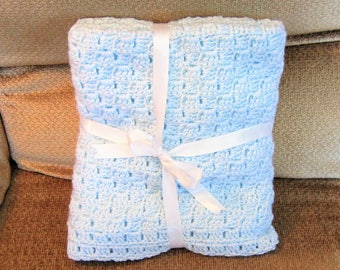 SHIPS FREE* Newborn Blue Crochet Blanket, Newborn Blue Crochet Afghan, Baby Shower Gift, Gift for Baby Boy/Girl, Newborn Blue Crochet Throw