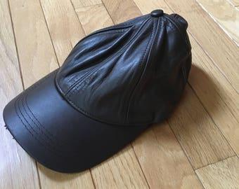 Winner Vintage Brown Genuine Leather Strapback Hat