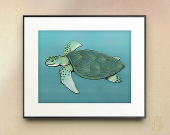 Sea Turtle // nursery art print // Drawing Illustration // wall art //  8x10 11x14