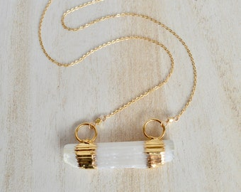 Selenite Bar Necklace. Gold Filled Chain.