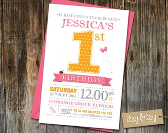PRINTABLE 1st Birthday Invitation - 1st Birthday Party 6x4 or 5x7