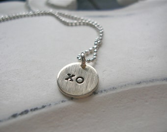 A Little Love Goes A Long Way  XO, Hugs and Kisses Tiny Charm Necklace