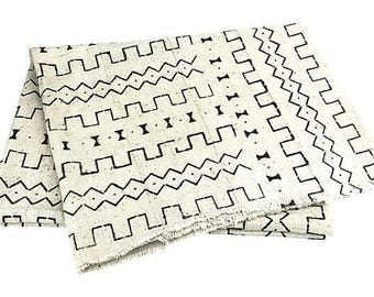 African White/Black Mud Cloth Throw