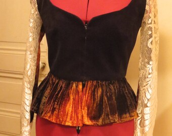 Peplum velvet and lace Camisole