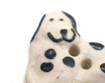 Bouton en céramique chien heureux, fait à la main, souriant noir & blanc tacheté chien, Dalmatien, laboratoire, 1»