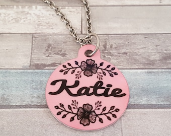 Cherry Blossom Flower Custom Name Charm Necklace | Birthday Gift | BFF Gift | Custom Color