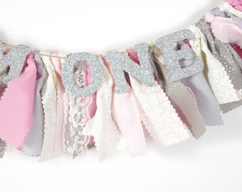 Pink and Silver Nursery Decor - Maternity Photo Prop - Name Banner - Birthday Banner - Garland - Photoshoot Prop