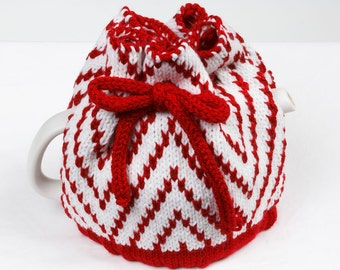 Knitted Teapot Cozy Red and White Scandinavian Fair Isle Design Tea cosie