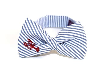 Lobster Bow Tie boys bowtie Embroidered Seersucker Bow Tie baby bow tie Lobster Print bowtie Nautical Bowtie kids bowties Navy Seersucker