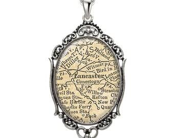 Map Pendant Lancaster PA Oval Filigree Pendant Pennsylvania Necklace Art Pendant Graphic Pendant