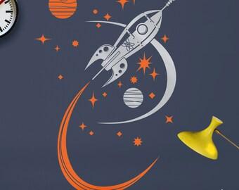 rocket ship wall decal, mid century space ship vinyl art, retro rocket sticker art, boys room, girls room, FREE SHIPPING