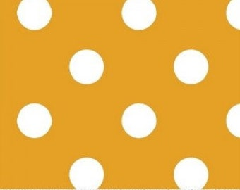 Gold Polka Dot Fabric --- 100 Percent Cotton --- Fabric By The Yard