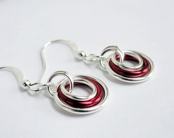 Aluminum earrings aluminium earrings red earrings hoop earrings silver and red simple earrings red hoop earrings chainmaille earrings