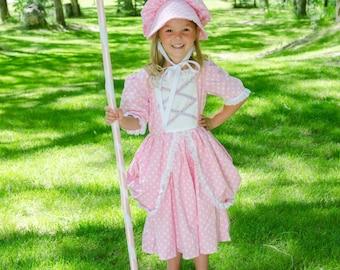 Cute Little Bo Peep costume dress and hat. NEW Fairytale story book, nursery rhyme, pink polka dot bonnet, Mary had a little Lamb, halloween