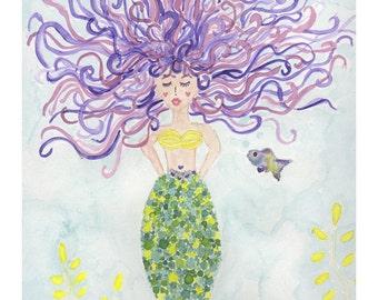 Nursery wall art, mermaid art print, watercolor mermaid, purple mermaid, mermaid print set, baby girl nursery, girl room art, mermaid art