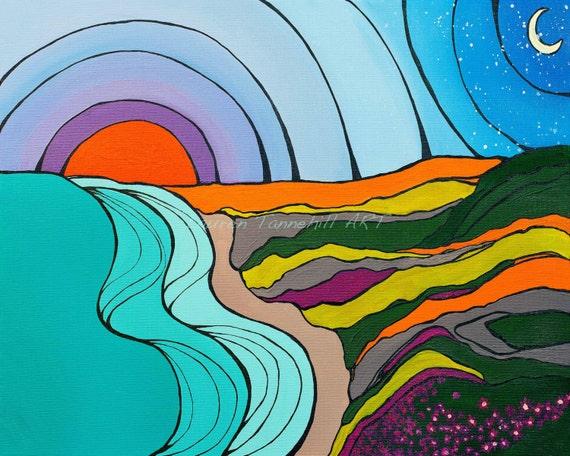 8x10 Giclee Print of  Vintage Swamis Surf Break in Encinitas, California by Lauren Tannehill ART