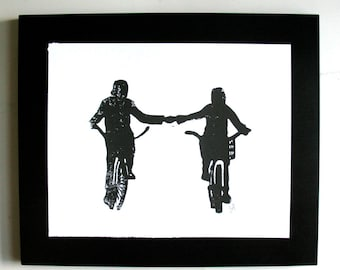 LINOCUT PRINT - Holding hands LETTERPRESS black bicycle poster 8x10 valentines day print
