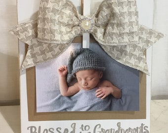 Blessed to be Grandparents Clip Frame in Ivory