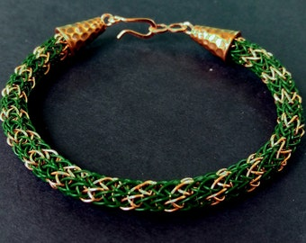 Green and Copper Viking Knit Bracelet with S-hook clasp