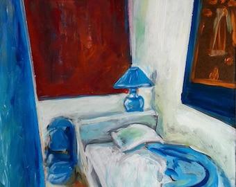 Blue Bedroom - Arles, France -  Original Acrylic - 11 x 14