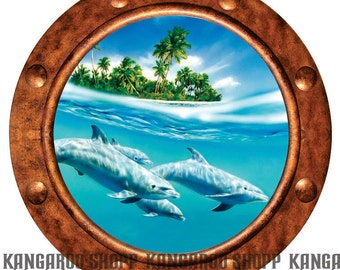 Dolphins Porthole Wall Decal