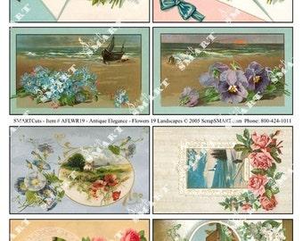 Flowers and Gardens-8 Vintage Designs on a Digital Collage Sheet Download - AFLWR19