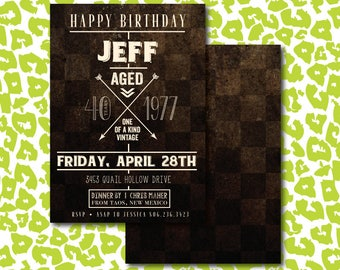 DIY Rustic Birthday Aged to Perfection Invitation