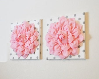 """Wall Flower -Light Pink Dahlia on White with Gray Polka Dot 12 x12"""" Canvas Wall Art- Baby Nursery Wall Decor-Set of TWO"""