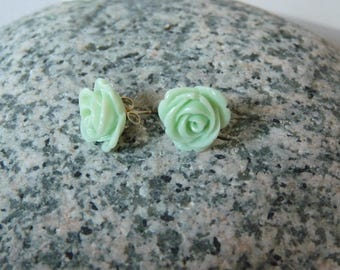 Earrings shaped pink green