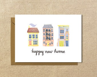 Happy New Home Card | Housewarming Illustrated Greeting Card | A2 Size